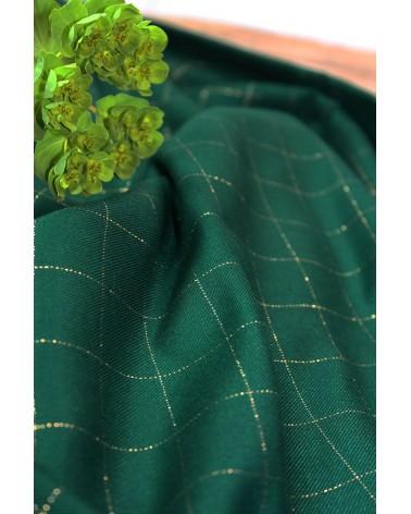 Tissu Carreaux Vert Prairie Lurex Doré Sergé