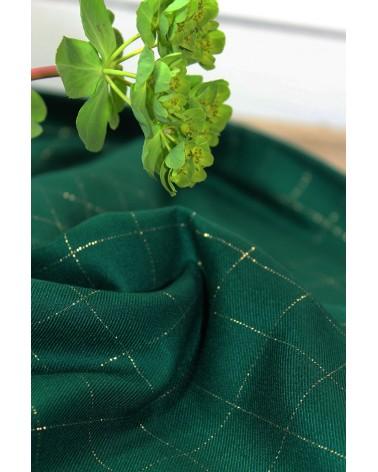 Tissu Sergé Carreaux Vert Prairie Lurex Doré