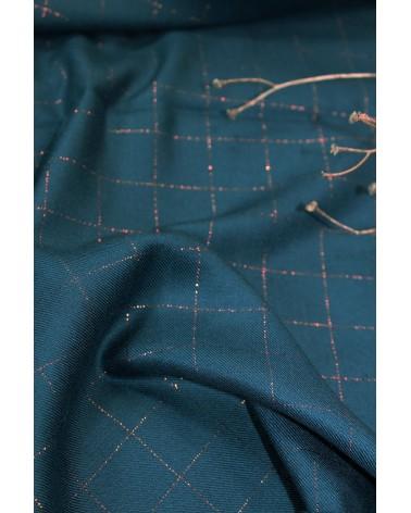 Tissu Carreaux Bleu Pétrole Lurex Cuivré Sergé