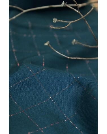 Tissu Sergé Carreaux Bleu Pétrole Lurex Cuivré