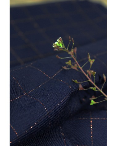 Tissu Carreaux Bleu Lurex Cuivré Sergé