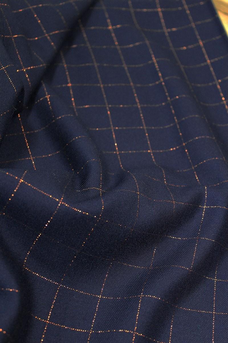Tissu Sergé Carreaux Marine Lurex Cuivré