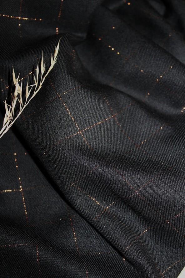 Tissu Carreaux Noir Lurex Cuivré Sergé