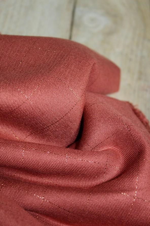 Tissu Carreaux Terracotta Lurex Cuivré Sergé