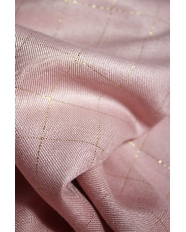 Tissu Carreaux Rose Perle Lurex Doré Sergé