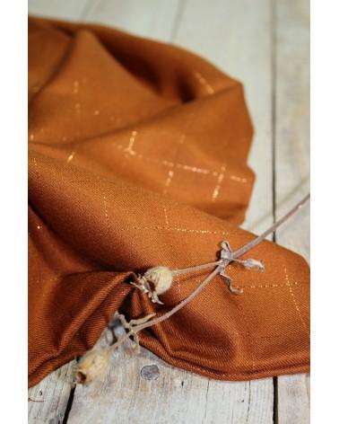 Tissu Carreaux Caramel Lurex Cuivré Sergé