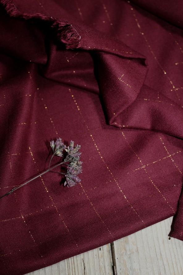 Tissu Carreaux Bordeaux Lurex Cuivré Sergé