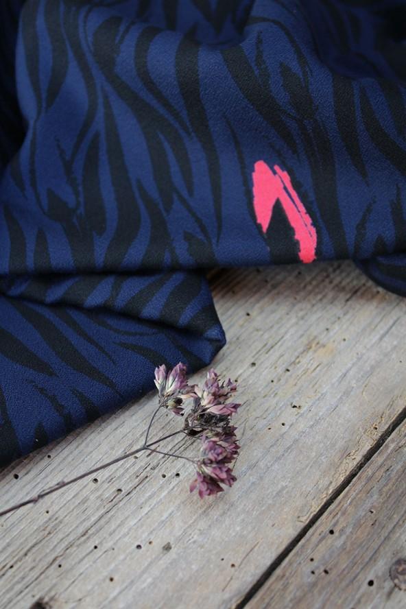 Tissu Zebra Bleu Crêpe de Viscose