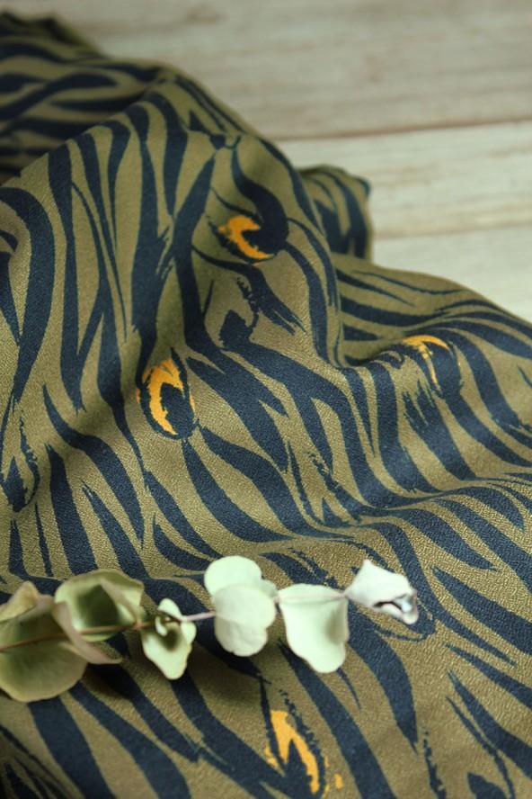 Tissu Zebra Kaki Crêpe de Viscose