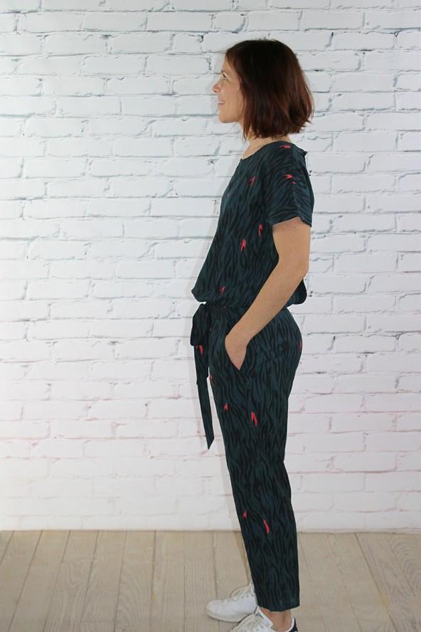 Tissu Zebra Vert Crêpe de Viscose Eglantine et Zoé combinaison Millésime de Aime comme Marie pour une jolie silhouette