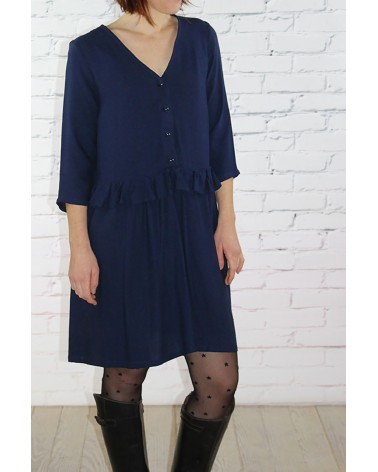 Tissu Bleu Marine Crêpe de Viscose