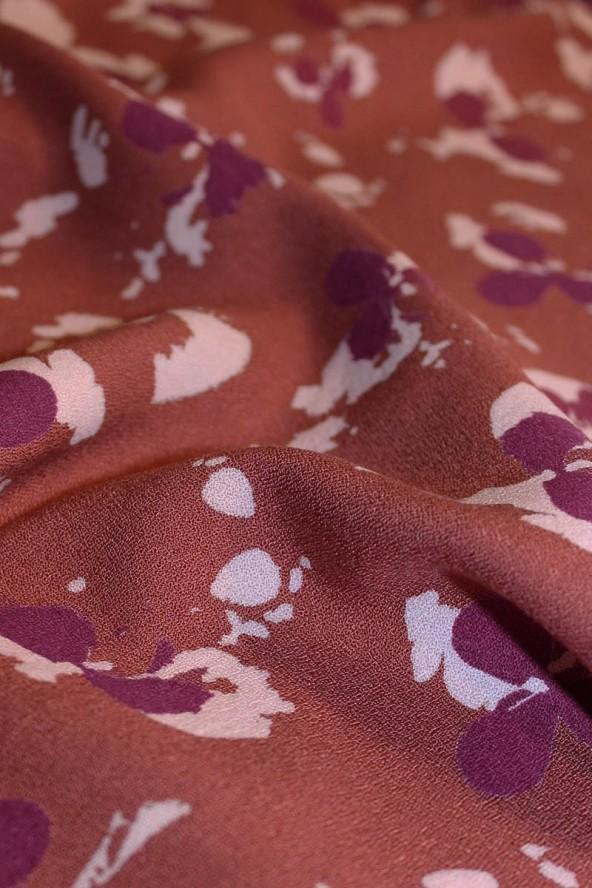 COUPONS Tissu Clovers Terracotta Crêpe de Viscose