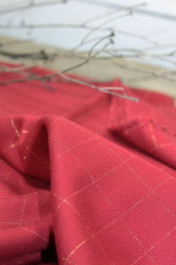 Tissu Carreaux Rouge Lurex Cuivré Sergé