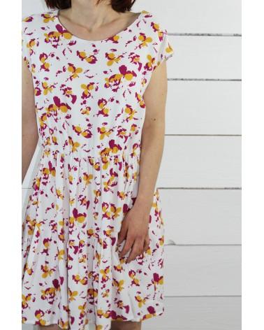 Tissu Clovers Nacre Crêpe de Viscose églantine et Zoé élégante simplicité robe Violette de République du Chiffon