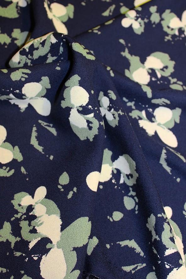 Tissu Clovers Bleu Atlantique Crêpe de Viscose églantine et Zoé