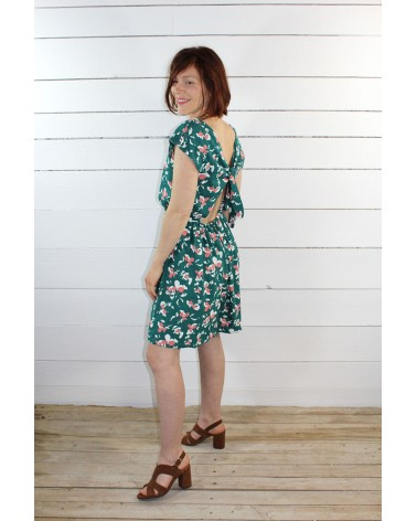 Tissu Clovers Vert Emeraude Crêpe de Viscose églantine et Zoé robe Irène de République du Chiffon dos