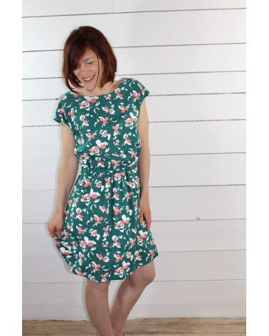 Tissu Clovers Vert Emeraude Crêpe de Viscose églantine et Zoé robe Irène de République du Chiffon charme et décontraction