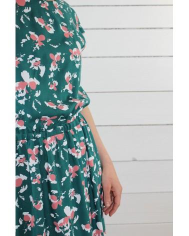 Tissu Clovers Vert Emeraude Crêpe de Viscose églantine et Zoé robe Irène de République du Chiffon zoom taille