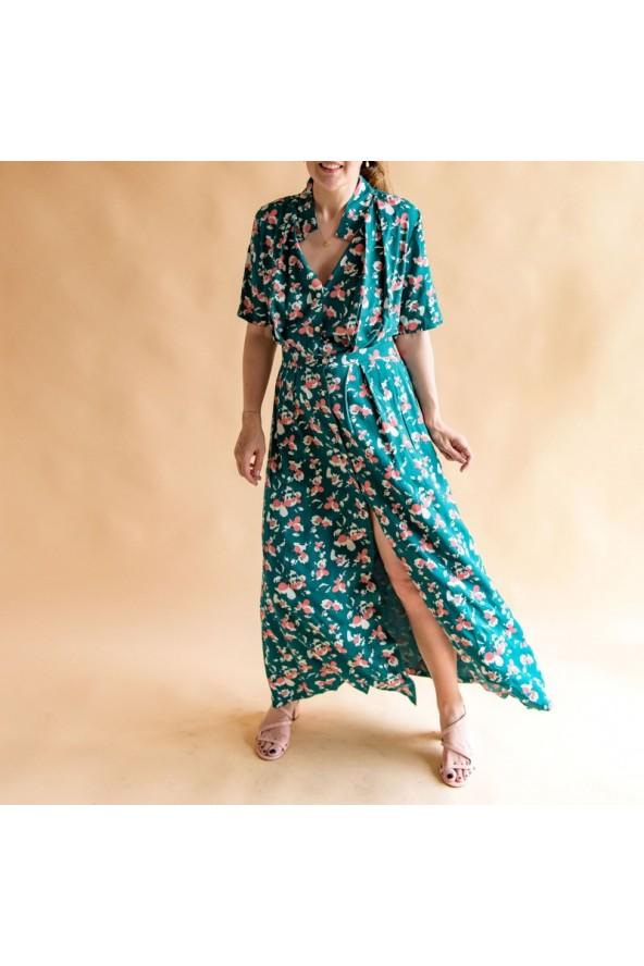 Tissu Clovers Vert Emeraude Crêpe de Viscose églantine et Zoé robe Mahala de Aime comme Marie