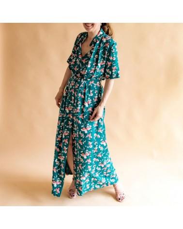 Tissu Clovers Vert Emeraude Crêpe de Viscose églantine et Zoé élégante robe Mahala de Aime comme Marie