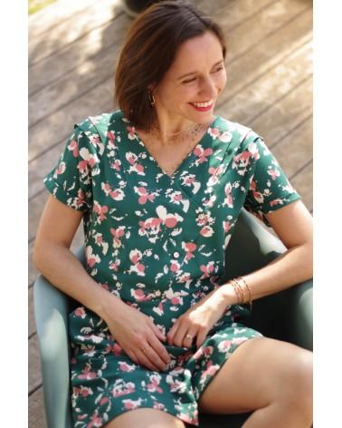 Tissu Clovers Vert Emeraude Crêpe de Viscose églantine et zoé combishort Eclipse de Maison Fauve  confortable