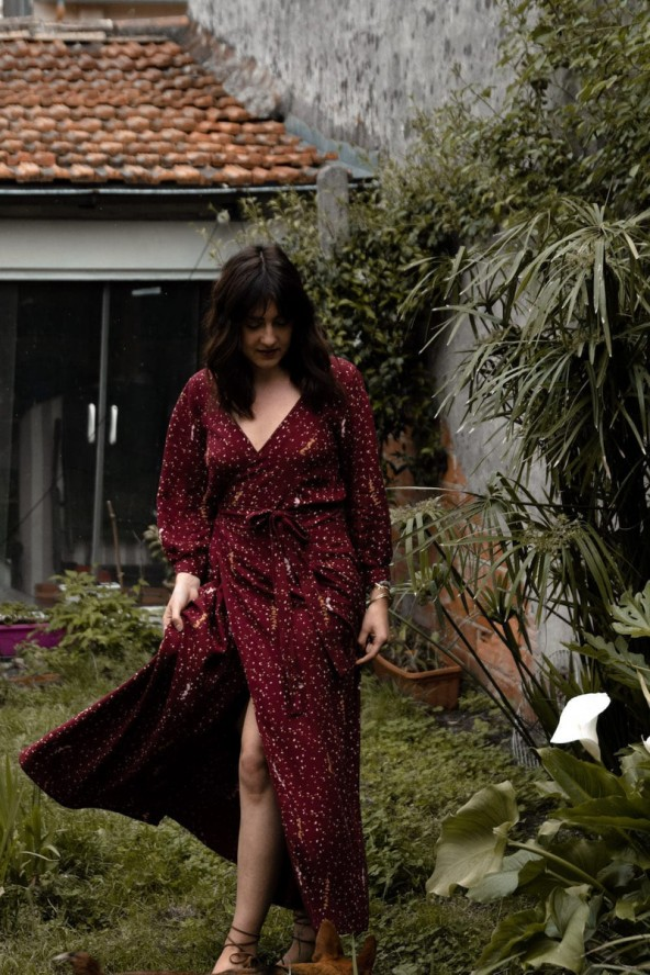 Tissu Lyptus Bordeaux Crêpe de Viscose robe longue