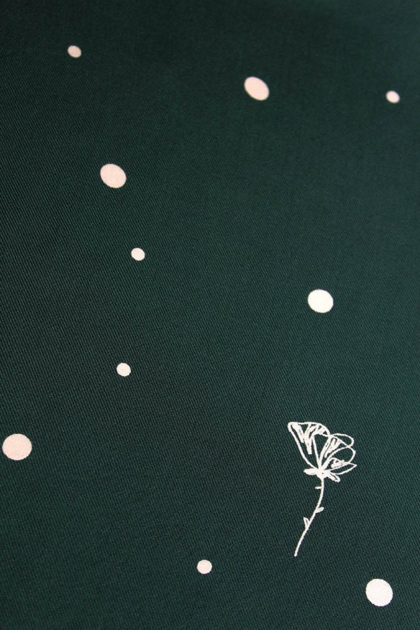 Tissu Polk Poppies Vert Sapin Sergé de Viscose