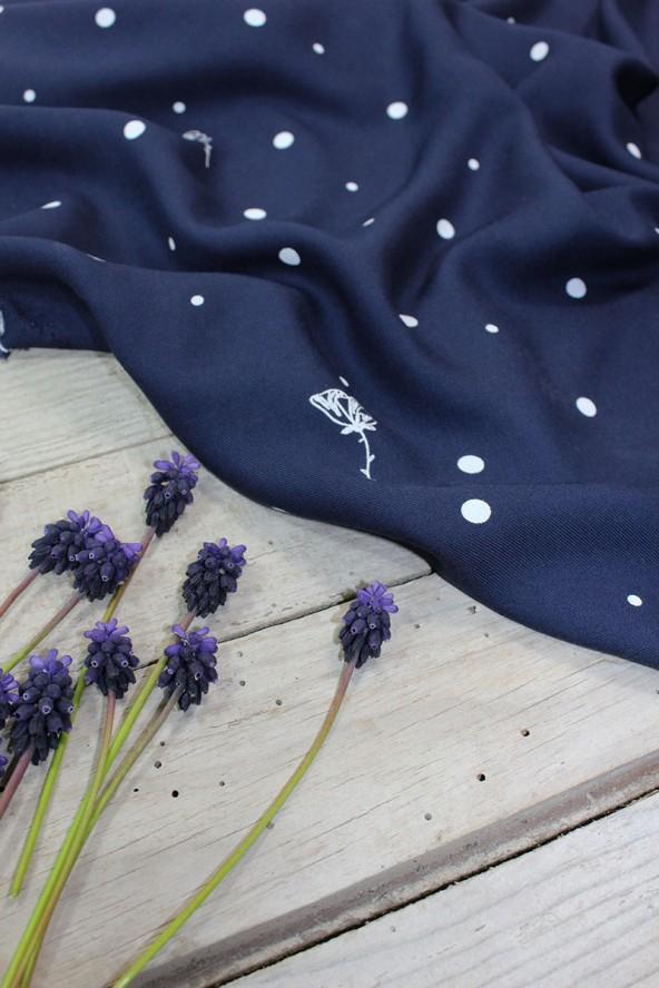 Tissu Polk Poppies Bleu Atlantique Sergé de Viscose