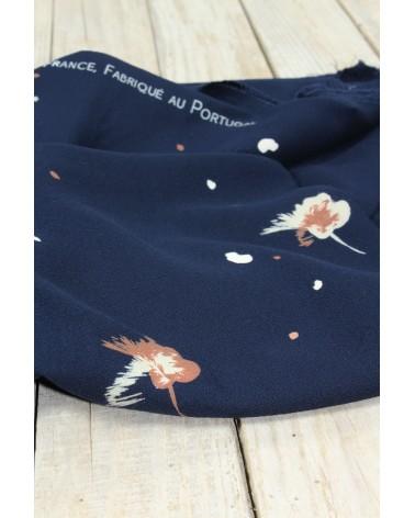 Tissu Windy Bleu Marine Crêpe de Viscose fabriqué au Portugal