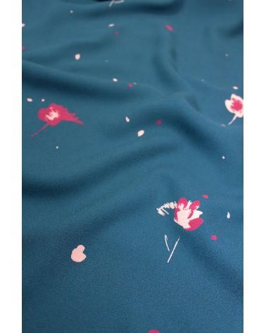Tissu Windy Bleu Pétrole Crêpe de Viscose