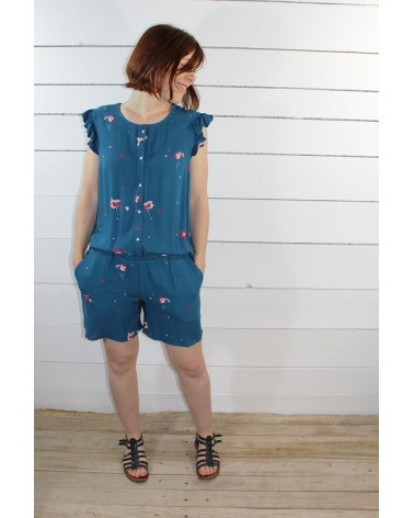 Tissu Windy Bleu Pétrole Crêpe de Viscose combishort Marieke de Ikatee avec poches