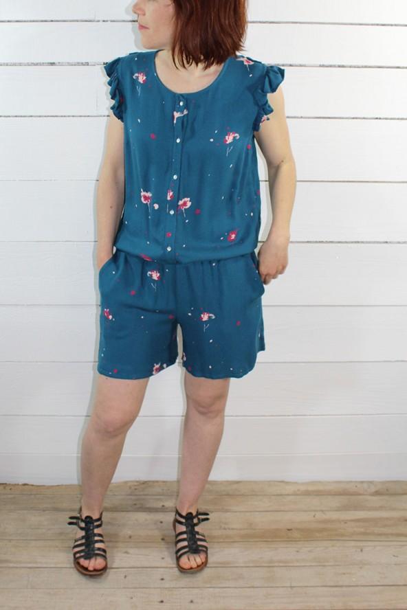 Tissu Windy Bleu Pétrole Crêpe de Viscose combishort avec des poches