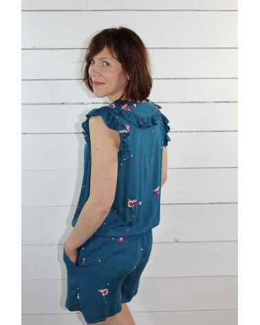 Tissu Windy Bleu Pétrole Crêpe de Viscose combishort Marieke de Ikatee à volants
