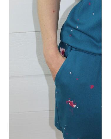 Tissu Windy Bleu Pétrole Crêpe de Viscose zoom sur les poches