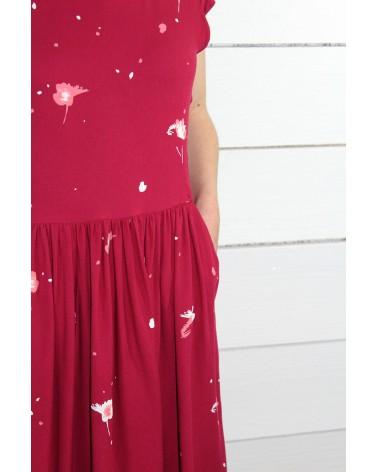 Tissu Windy Grenade Crêpe de Viscose robe rouge avec des poches