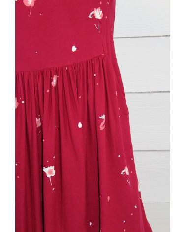 Tissu Windy Grenade Crêpe de Viscose robe avec des fronces