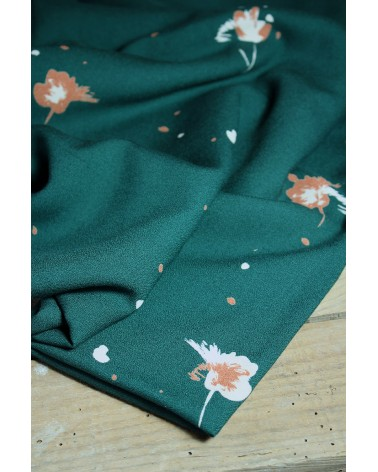 Tissu Windy Vert Sapin Crêpe de Viscose tissu fluide et doux