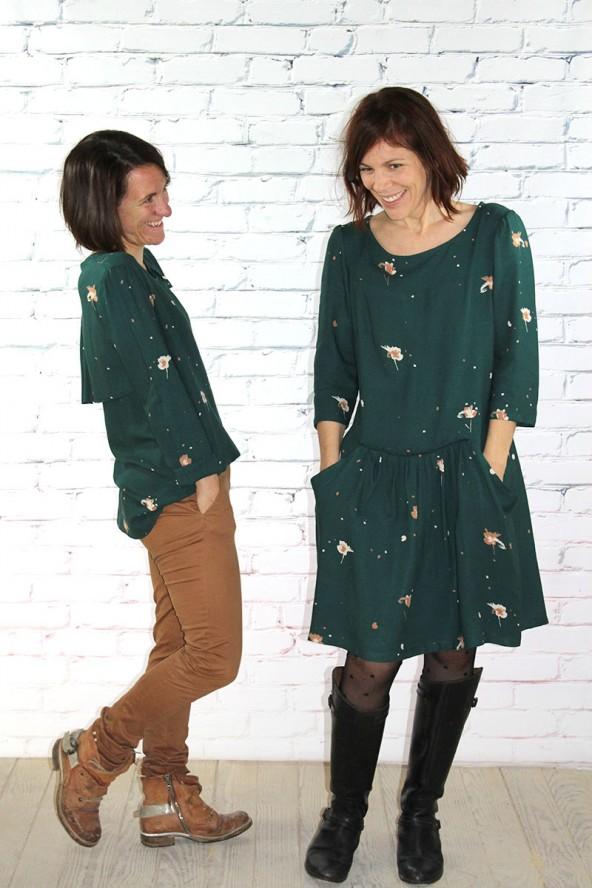 Tissu Windy Vert Sapin Crêpe de Viscose duo de vêtements cousus mains