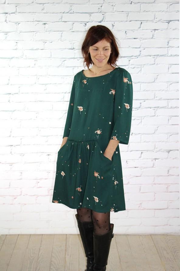 Tissu Windy Vert Sapin Crêpe de Viscose robe Alysse de Slow Sunday Paris