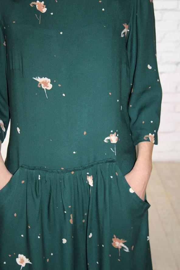 Tissu Windy Vert Sapin Crêpe de Viscose robe avec jupe froncée et poches