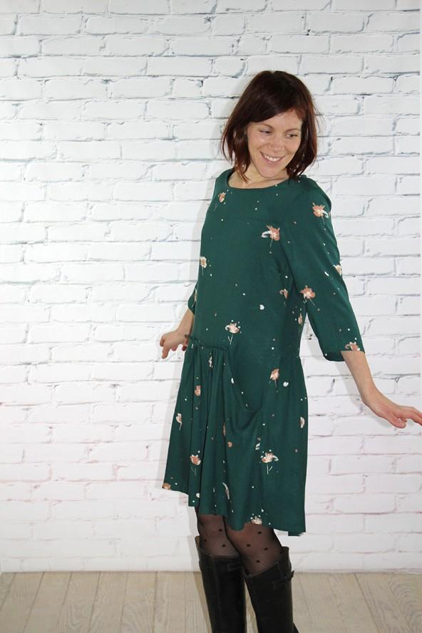 Tissu Windy Vert Sapin Crêpe de Viscose robe manches trois quarts cousue mains