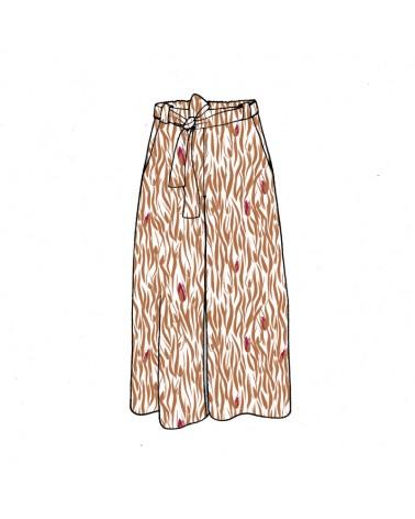 Tissu Crêpe de Viscose Zebra Nacre Eglantine et Zoé Pantalon Médina de Aime comme Marie