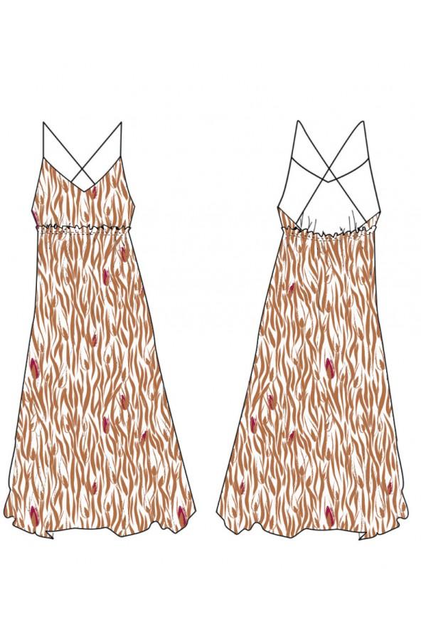 Tissu Crêpe de Viscose Zebra Nacre Eglantine et Zoé Robe Cassandre de Clématisse Pattern