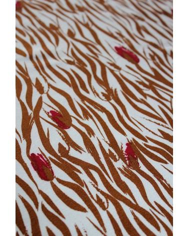 Tissu Crêpe de Viscose Zebra Nacre Eglantine et Zoé motif zèbre et fleurs