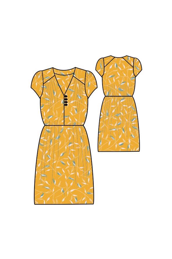 robe arlette de république du chiffon cousue dans le crepe de viscose avena jaune soleil de eglantine et zoe