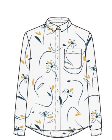 Chemise Billie de Slow Sunday Paris cousue dans le sergé de viscose Bloom Nacre de Eglantine et Zoé