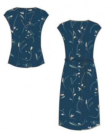 Robe et blouse Alegria de Slow Sunday Paris cousues dans le Sergé de Viscose Bloom Bleu Pétrole de Eglantine et Zoé