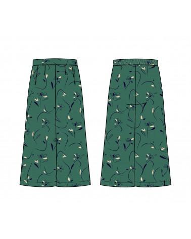 Pantalon jupe culotte Anja de Slow Sunday Paris cousu dans le sergé de viscose Bloom Vert Emeraude de Eglantine et Zoé