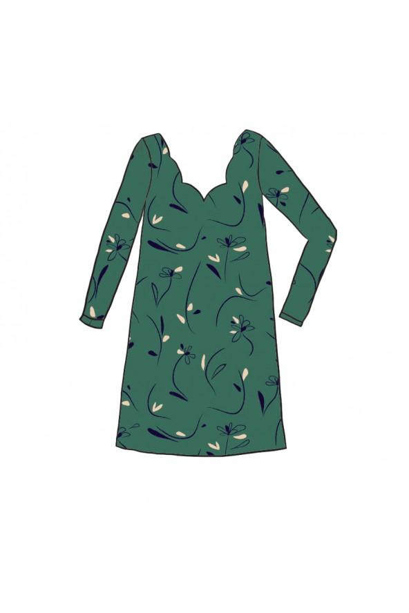 Robe Lola de Apolline Patterns cousue dans le sergé de viscose Bloom Vert Emeraude de Eglantine et Zoé