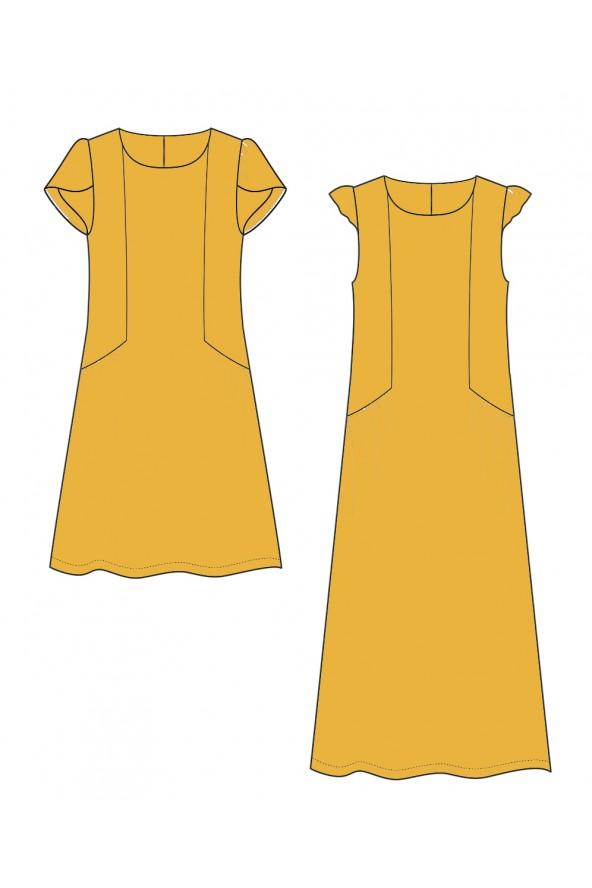Robe Forget me not de Slow Sunday Paris cousue dans le crêpe de viscose jaune soleil Eglantine et Zoé